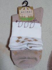 新品靴下(小鳥柄)、くつ下、22�p〜25�p、白色、茶色