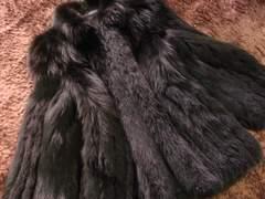セレブマスト本物毛皮FOXブラックフォックス最高級のボリューム.艶圧巻の品.11号