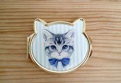 猫 拡大鏡付きコンパクトミラー☆ 猫形ミラー