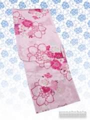 【和の志】女性用変わり織り浴衣◇F◇桃系・八重の花◇KW-218