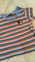 ファミリア80familia ★ボーダー柄赤水色グレー半袖Tシャツ