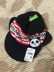 H019/ニット帽子/パンダ/FREEサイズ/ブラック/