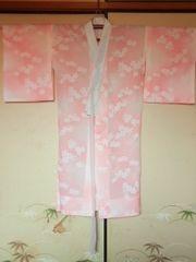 オレンジ白花*長襦袢化繊チョー美品衣紋ヌキ