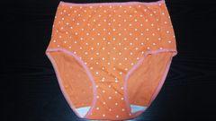 新品 可愛い綿100%ショーツ(5L)オレンジ×白ドット柄