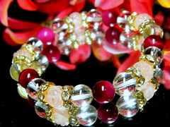 バラ彫ローズクォーツ§ピンクタイガーアイ§水晶§8ミリ§金ロンデル