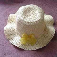キッズ 子供用 黄色 レース リボン ハット 帽子