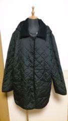 フード付きキルティングコート 黒  3L