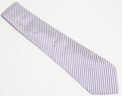 美品 Armani アルマーニ ネクタイ ストライプ 紫×白 シルク