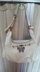アナスイ、レザーバッグ、オフホワイト、蝶々