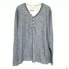 【新品】メンズ異素材ヘンリーネックTシャツ/アース×しまむらコラボ