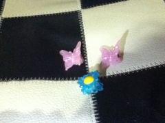 蝶々柄&花柄 ヘアクリップ