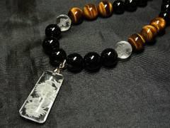 願いを叶える数珠 浮彫龍水晶プレート&タイガーアイ&オニキスネックレス