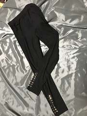 裾飾り付き黒スパッツ★イノ袋送料170円