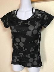 ★adidas Climalite 黒×グレードット 重ね着風Tシャツ  S★