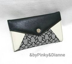 &byPinky&Dianne 新品 Wホック モノグラムロゴ柄財布 黒グレー
