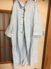 五部袖ふんわり青チュニックL* ナチュラル*クリックポスト185円