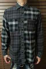 即決Fxxkブラック&グレークレイジーチェックネルシャツ!パンクロックロンズデールフレッドペリー