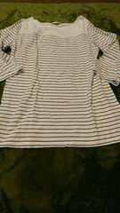 美品*7分丈Tシャツ*LL ボーダー 茶 ナチュラル