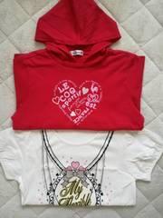 美品新品女児女子女の子トップス2枚まとめ売りTシャツパーカールコック160cm