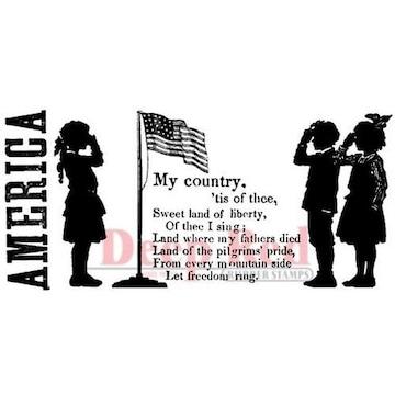 海外アメリカ製クリングスタンプ私の国シルエットと文章星条旗