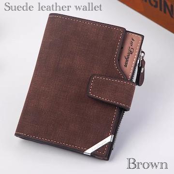 財布 二つ折り財布 スエード レザー 札入れ 小銭入れ ブラウン