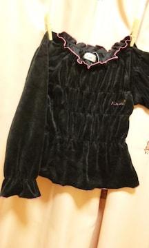 新品ベロアシャツシャーリングギャザー95100トレーナー