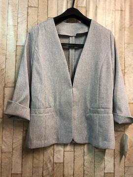 新品☆M♪軽い7分袖ジャケット♪通勤オフィスに☆j305
