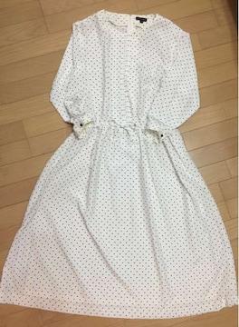ホワイト×黒水玉 ロング長袖ゆるりシルエットワンピース