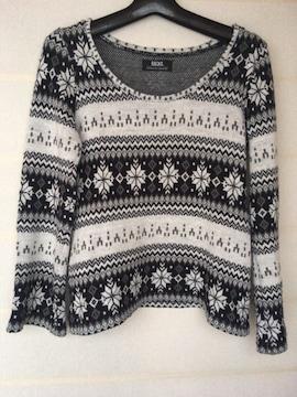 BACKS 白黒 ノルディック柄 長袖 セーター F N2m