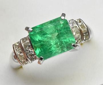 K18WG エメラルド 3.32ct ダイヤモンドリング 14.5号 指輪