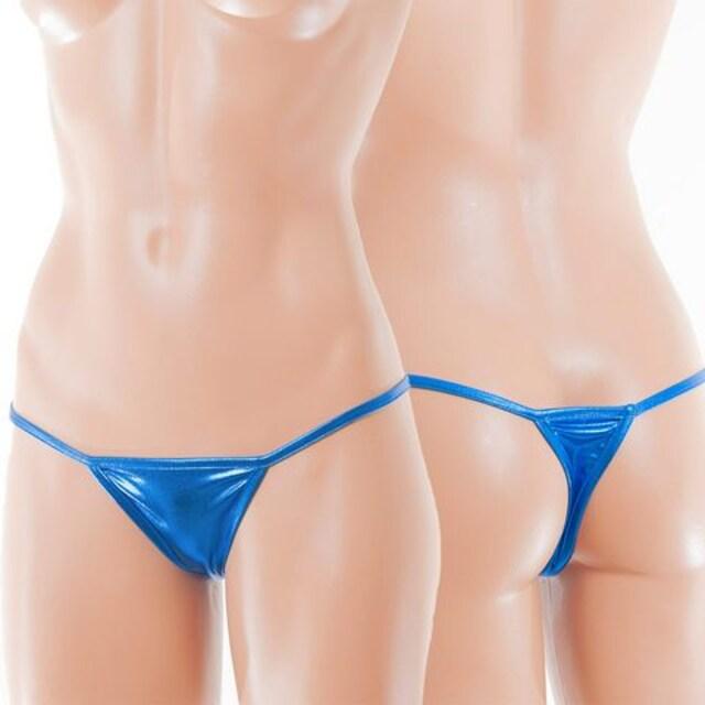 シャイニーメタリックのマイクロTバック ブルー < 女性ファッションの