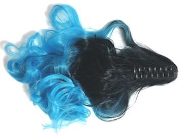 新品[7698]【クリップ】黒X青グラデーションカラーポニーテールウィッグ