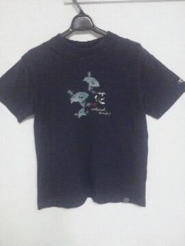 Fー165★メンズ半袖和柄Tシャツ  ネイビー M