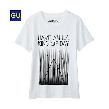 美品!GU☆グラフィックTシャツ XL 白 水通しのみ
