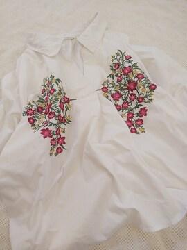 mysty woman/繊細刺繍がかわいいシャツプルオーバー