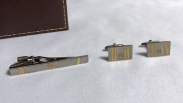 正規 ダンヒルdunhill dロゴストライプカフス ネクタイピンSET カフリンクス タイピン ボタン