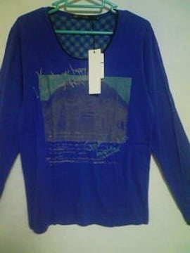 Aー371☆新品☆長袖フォトプリントデザインTシャツ ブルー M