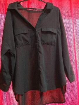 ローリーズファーム☆スキッパーシャツ7s☆ブラック