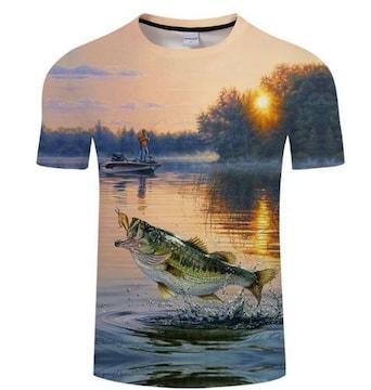 水面ジャンプ!アングラーとのファイト!TシャツXXLサイズ新品