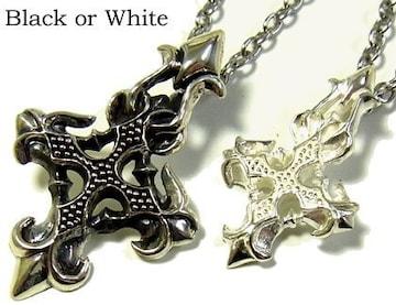 十字架 クロスシルバーネックレス-シルバー925-いぶし-ブラック-Black or White