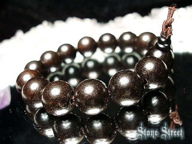 『癒しの香り』黒檀木(ブラック檀木)約15ミリ15粒数珠 < 男性アクセサリー/時計の