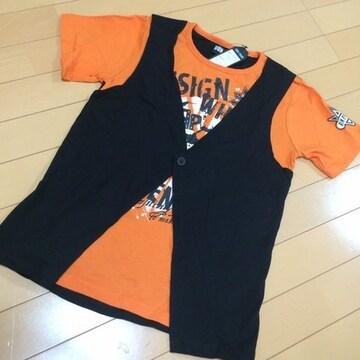 新品◆ジレ重ね着風ドクロTシャツ◆150半袖オレンジ