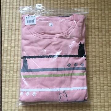 LLサイズ・猫プリント&ポケット付チュニックパジャマセットp