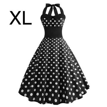 新品☆ホルターネック♪ふんわり綺麗ワンピース ブラック XL