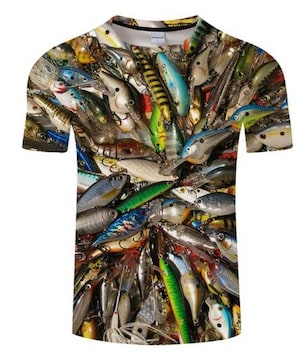 Tシャツ!ルアーいっぱい!速乾!!かっこいい!Lサイズ新品