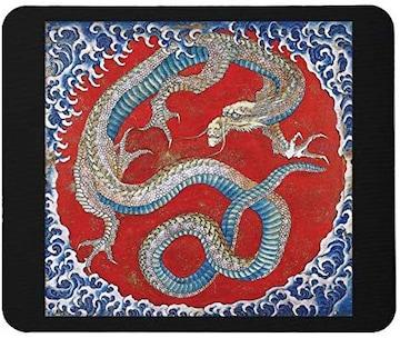 北斎、信州小布施 東町祭屋台天井絵『龍図』のマウスパッド A