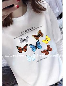 4L大きいサイズ/バタフライプリントTシャツ/白