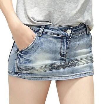 見た目はミニスカート★デニムショートパンツ(Lサイズ)
