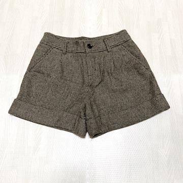 【美品】チェック柄ウールショートパンツ/UNIQLO/ブラウン/61cm