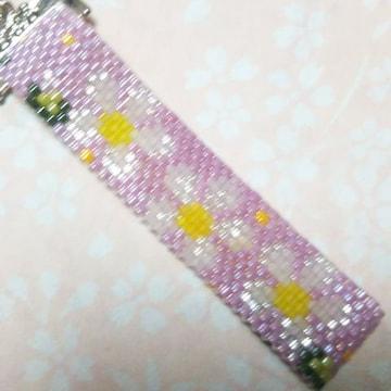 【handmade】ペヨーテ・ステッチ・プルメリアの伝説(薄紫)
